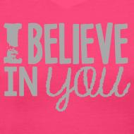 Design ~ I Believe in You | Glitter Silver | Women's V-Neck