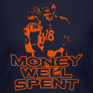 Design ~ Money Well Spent - Ladies Long Sleeve Jersey Tee - Dark Garment
