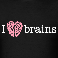 Design ~ YellowIbis.com 'Medical One Liners' Men's / Unisex Standard T-Shirt: I love brains (Color Choice)