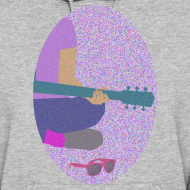 Design ~ Guitar, pink sunglasses, and nail polish hoodie