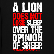 Design ~ A lion does not lose sleep | Womens hoodie (back print)