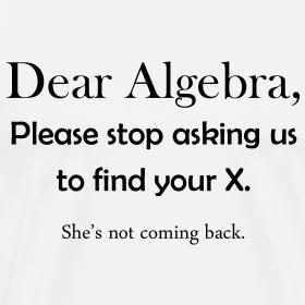 Dear Algebra, please stop asking us to find your X. She's ... Dear Math Stop Asking Me To Find Your X