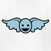 White Funny blue angel smiley face Kids' Shirts