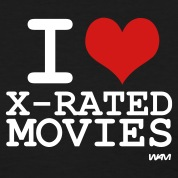 Black i love x rated movies by wam Women's T-Shirts