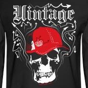 Black Vintage Designer's Graffiti Skull Cap Long Sleeve Shirts