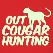Red OUT COUGAR HUNTING T-Shirts