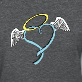 Design   Trisomy heart with angel wings and haloAngel Wings Heart Halo