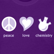 Design ~ YellowIbis.com 'Chemical One Liners' Women's Standard T: Peace Love Chemistry (Color Choice)