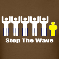Design ~ Men's Brown/White/Yellow Stop The Wave Logo T-Shirt
