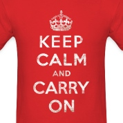 Vintage White Keep Calm and Carry On Text w/Crown T-Shirts