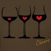 Cheers 3 red hearts wine glasses Women's Standard Weight T-Shirt