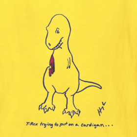Design ~ T-Rex Trying Cardigan (Kids)