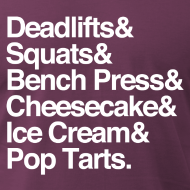 Design ~ Deadlifts & Squats & Bench Press & Cheesecake & Ice Cream & Pop Tarts