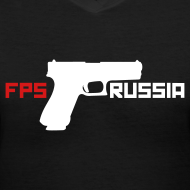 Design ~ Ladies V-Neck : FPS Russia Gun Logo