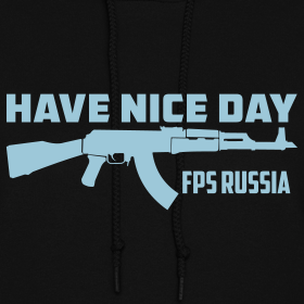 Design ~ Ladies Hoodie : Have Nice Day AK-47 Baby Blue