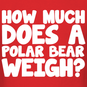 how much does a polar bear weigh ice breaker party t shirt