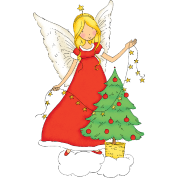 Christmas fairy with christmas tree.