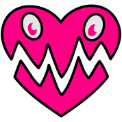 cute monster love heart