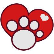 paw and love heart