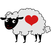 sheep with love heart
