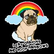 Rainbow poop pug