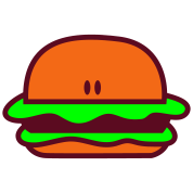 hamburger short bun eyes facing foreward
