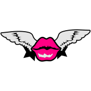pouty lips with wings flying and stars
