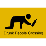 large Drunk People Crossing