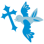 pretty blue bird flying gothic cross