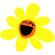 sunflower with massive smile so chibi so cute