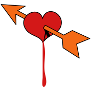 love heart with cupids arrow bleeding