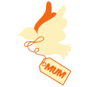 mothers day peace dove with tag saying mum