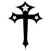 gothic cross with stars and funky outline