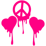 BLEEDING PEACE SIGN with LOVE HEART s