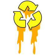 recycle symbol dripping orange neon