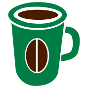 green coffee cup with bean funky