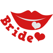 bride with smiling lips and love heart