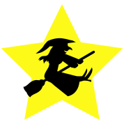 witch on a broomstick on a star