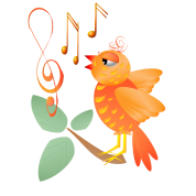 Orange Singing Bird