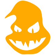 Halloween ghost pumpkin scary face smiling with teeth