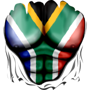 South Africa Flag Ripped Muscles, six pack, chest t-shirt