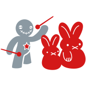 voodoo happy children voodoo doll threatening rabbits