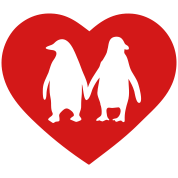 Penguins in love - love each other penguins