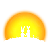 sunset romance bunny bunnies hare rabbit easter hill sun jackass date gras