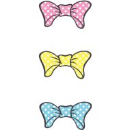 Design ~ Three Bows Different Colors With White Dotts