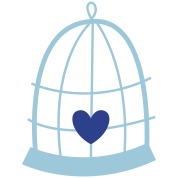 nest birdcage with a cute love heart