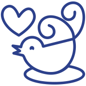 cute tweeter blue love bird