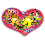 Big Love cute Fish hug in Red Hart, By FabSpark