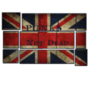 Punks Not Dead on the English flag.