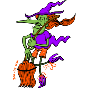 Crazy Witch Dancing with her Broomstick